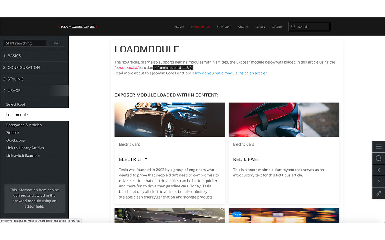 nx-ArticleLibrary Dark layout frontend